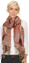 Sakkas Raeste Long Wide Tassel Multi Colored Paisley Pashmina Shawl / Wrap #color_Burgundy