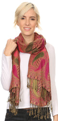 Sakkas Raeste Long Wide Tassel Multi Colored Paisley Pashmina Shawl / Wrap #color_Fuchsia
