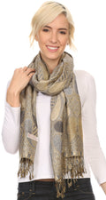 Sakkas Raeste Long Wide Tassel Multi Colored Paisley Pashmina Shawl / Wrap #color_Grey