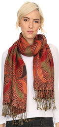 Sakkas Raeste Long Wide Tassel Multi Colored Paisley Pashmina Shawl / Wrap #color_Red / Black