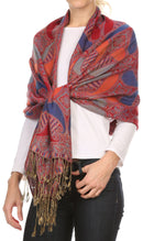 Sakkas Raeste Long Wide Tassel Multi Colored Paisley Pashmina Shawl / Wrap