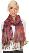 Sakkas Raeste Long Wide Tassel Multi Colored Paisley Pashmina Shawl / Wrap #color_Royal Blue