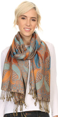 Sakkas Raeste Long Wide Tassel Multi Colored Paisley Pashmina Shawl / Wrap #color_Turquoise