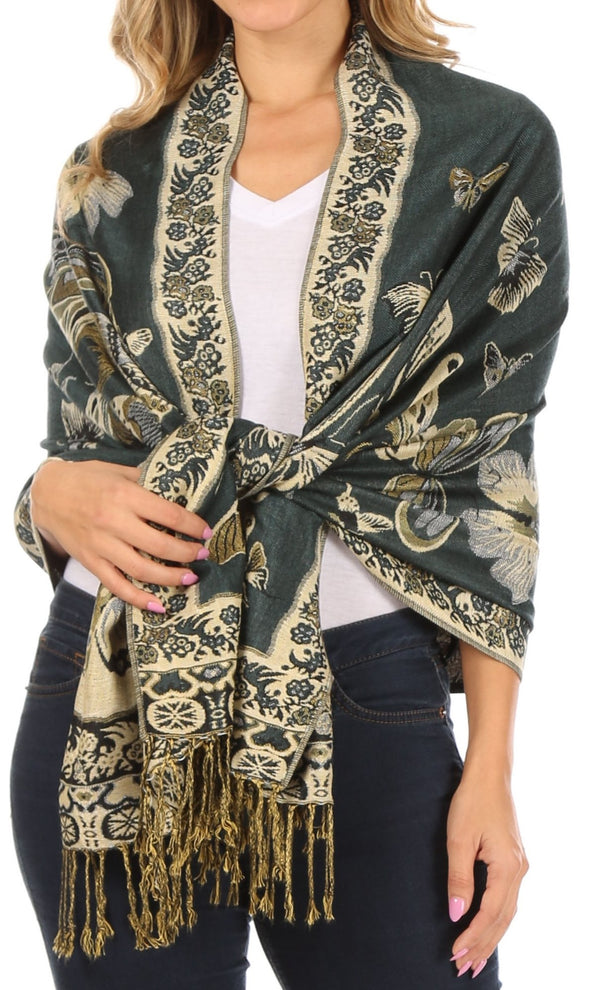 Sakkas Liua Long Wide Woven Patterned Design Multi Colored Pashmina Shawl / Scarf#color_Aqua