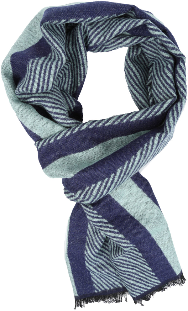 Sakkas Kopa Long Mid Weight Soft Fringe Patterned UniSex Cashmere Feel Scarf#color_Aqua