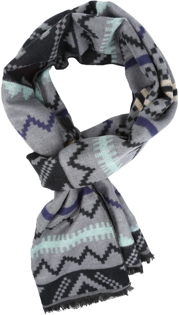 Sakkas Xayn Long Aztec Tribal Warm Patterned UniSex Cashmere Feel Scarf#color_Aqua