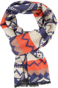 Sakkas Xayn Long Aztec Tribal Warm Patterned UniSex Cashmere Feel Scarf#color_Navy