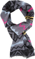 Sakkas Xayn Long Aztec Tribal Warm Patterned UniSex Cashmere Feel Scarf#color_Pink