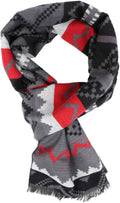 Sakkas Xayn Long Aztec Tribal Warm Patterned UniSex Cashmere Feel Scarf#color_Red