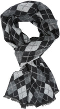 Sakkas Ezel Long Warm Argyle Patterned UniSex Cashmere Feel Scarf#color_Black