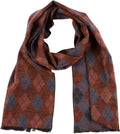 Sakkas Ezel Long Warm Argyle Patterned UniSex Cashmere Feel Scarf#color_Burnt Orange