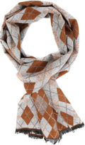 Sakkas Ezel Long Warm Argyle Patterned UniSex Cashmere Feel Scarf#color_Caramel