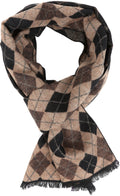 Sakkas Ezel Long Warm Argyle Patterned UniSex Cashmere Feel Scarf#color_Chocolate