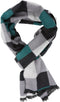 Sakkas Lawren Long Multi Colored Checkered Warm UniSex Cashmere Feel Scarf#color_Aqua