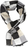 Sakkas Lawren Long Multi Colored Checkered Warm UniSex Cashmere Feel Scarf#color_Black