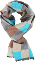 Sakkas Lawren Long Multi Colored Checkered Warm UniSex Cashmere Feel Scarf#color_Turquoise