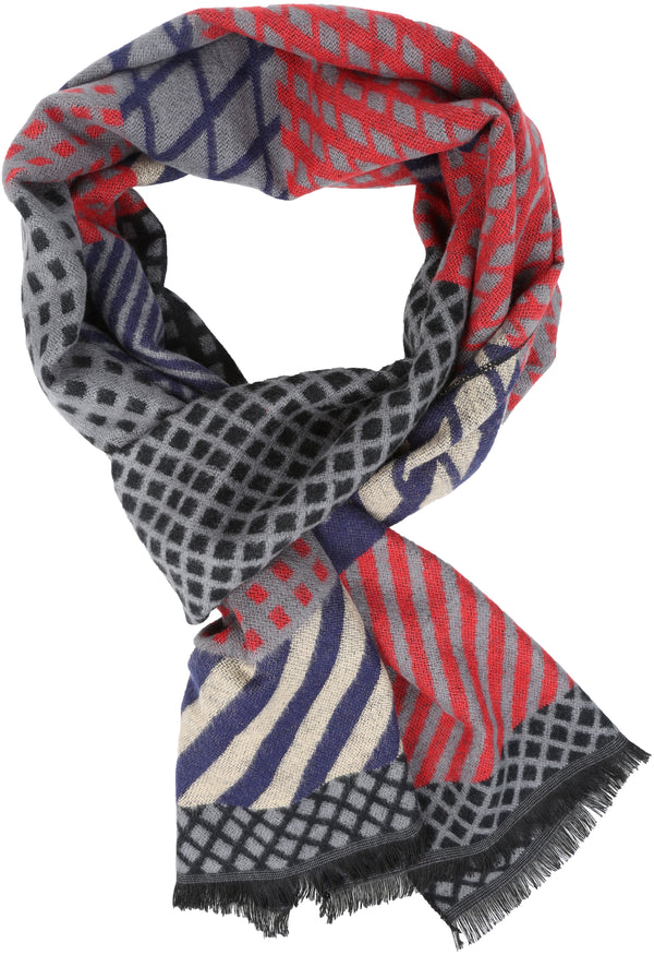 Sakkas Samna Long Stripe Patterned Warm UniSex Cashmere Feel Scarf#color_Black / Red