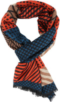 Sakkas Samna Long Stripe Patterned Warm UniSex Cashmere Feel Scarf#color_Brown / Orange