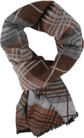 Sakkas Todaya Long Multi Colored Diamond Patterned UniSex Cashmere Feel Scarf#color_Brown