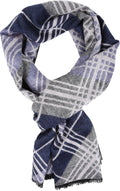Sakkas Todaya Long Multi Colored Diamond Patterned UniSex Cashmere Feel Scarf#color_Navy