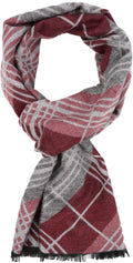 Sakkas Todaya Long Multi Colored Diamond Patterned UniSex Cashmere Feel Scarf#color_Raspberry