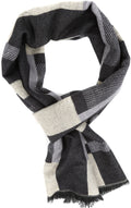 Sakkas Cayla Long Checker Box Lined Design Patterned UniSex Cashmere Feel Scarf#color_Grey