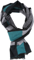 Sakkas Cayla Long Checker Box Lined Design Patterned UniSex Cashmere Feel Scarf#color_Grey / Aqua