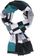 Sakkas Cayla Long Checker Box Lined Design Patterned UniSex Cashmere Feel Scarf#color_White / Aqua