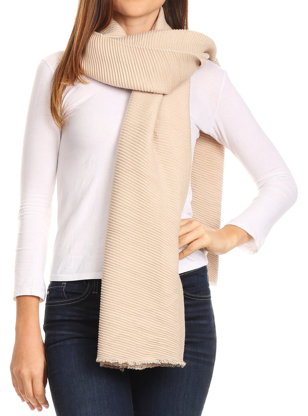 Sakkas Cara Pleated Crinkle Soft and Warm Shawl/ Wrap/ Stole#color_Beige