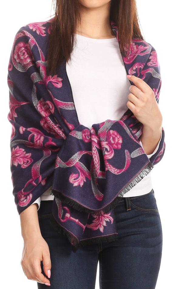 Sakkas Adele Floral Ornate Soft and Warm Pashmina Shawl Scarf Wrap Stole#color_Navy/pink