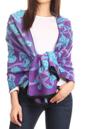 Sakkas Adele Floral Ornate Soft and Warm Pashmina Shawl Scarf Wrap Stole#color_Purple/turq