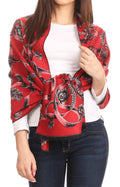 Sakkas Adele Floral Ornate Soft and Warm Pashmina Shawl Scarf Wrap Stole#color_Red/black
