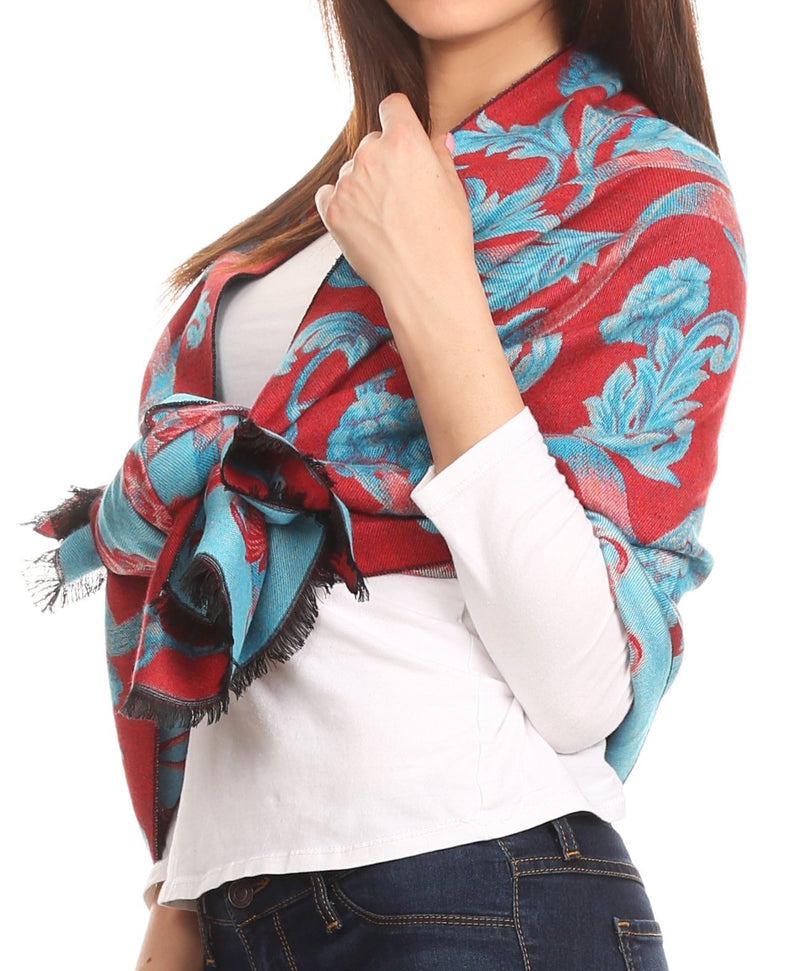 Sakkas Adele Floral Ornate Soft and Warm Pashmina Shawl Scarf Wrap Stole