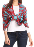 Sakkas Adele Floral Ornate Soft and Warm Pashmina Shawl Scarf Wrap Stole#color_Red/turq