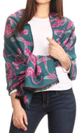 Sakkas Adele Floral Ornate Soft and Warm Pashmina Shawl Scarf Wrap Stole#color_Teal/pink