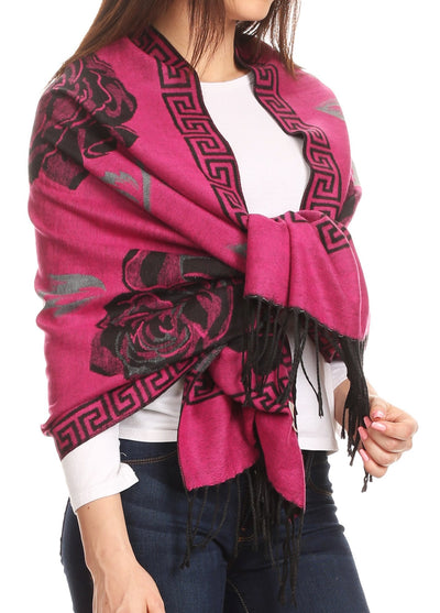 group-Fuchsia/black (Sakkas Soffia Damask Rose Super Soft and Warm Pashmina Scarf Shawl Wrap Stole)