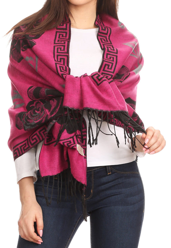 Sakkas Soffia Damask Rose Super Soft and Warm Pashmina Scarf Shawl Wrap Stole#color_Fuchsia/black