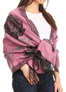 Sakkas Soffia Damask Rose Super Soft and Warm Pashmina Scarf Shawl Wrap Stole