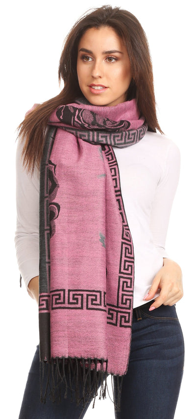 group-Lightpink/black (Sakkas Soffia Damask Rose Super Soft and Warm Pashmina Scarf Shawl Wrap Stole)