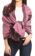 Sakkas Soffia Damask Rose Super Soft and Warm Pashmina Scarf Shawl Wrap Stole#color_Lightpink/black