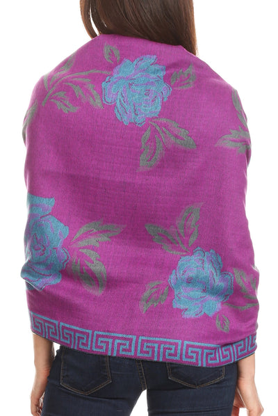 group-Purple/turq (Sakkas Soffia Damask Rose Super Soft and Warm Pashmina Scarf Shawl Wrap Stole)