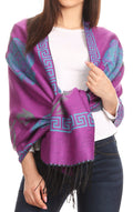 Sakkas Soffia Damask Rose Super Soft and Warm Pashmina Scarf Shawl Wrap Stole#color_Purple/turq