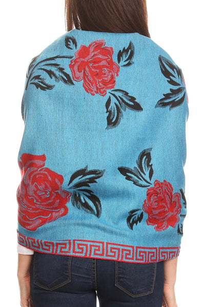 group-Turq/red (Sakkas Soffia Damask Rose Super Soft and Warm Pashmina Scarf Shawl Wrap Stole)