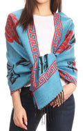 Sakkas Soffia Damask Rose Super Soft and Warm Pashmina Scarf Shawl Wrap Stole#color_Turq/red