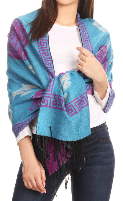 group-Turq/white/purple (Sakkas Soffia Damask Rose Super Soft and Warm Pashmina Scarf Shawl Wrap Stole)