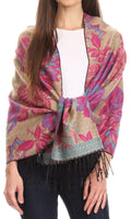 Sakkas Aurora Floral Rose Pashmina Scarf Shawl Wrap with Fringe Super Warm Soft#color_Beige / Pink