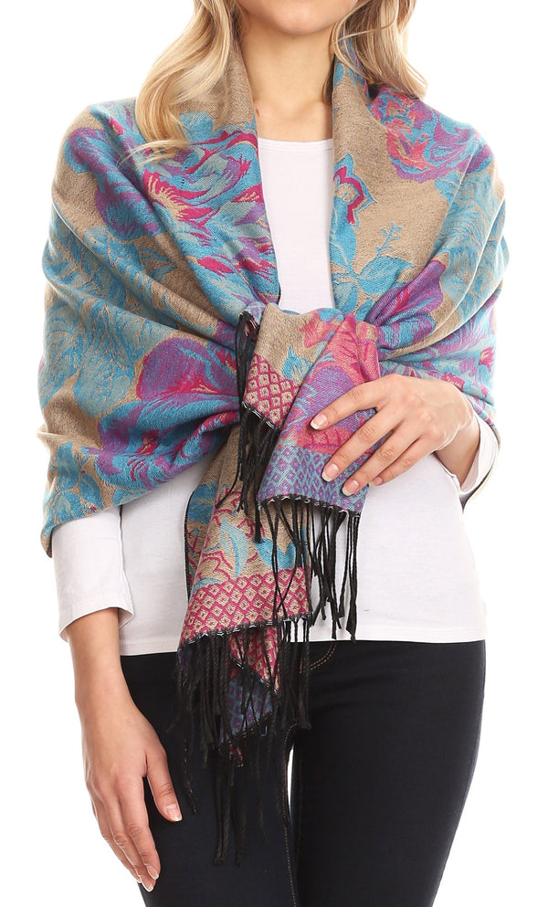 Sakkas Aurora Floral Rose Pashmina Scarf Shawl Wrap with Fringe Super Warm Soft#color_Beige/turq