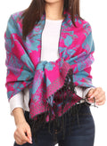 Sakkas Aurora Floral Rose Pashmina Scarf Shawl Wrap with Fringe Super Warm Soft#color_Fuchsia/turq