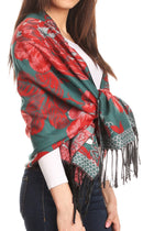 Sakkas Aurora Floral Rose Pashmina Scarf Shawl Wrap with Fringe Super Warm Soft