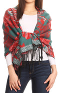 Sakkas Aurora Floral Rose Pashmina Scarf Shawl Wrap with Fringe Super Warm Soft#color_Jadegreen/red
